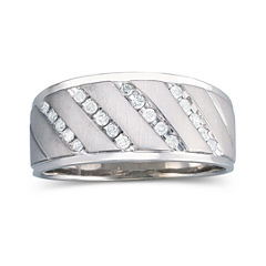 Mens 1/4 CT. T.W. Diamond Band Sterling Silver