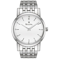 Bulova® Mens Silver-Tone Dial Stainless Steel Watch