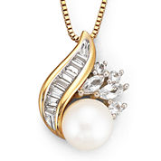 Cultured Freshwater Pearl 14K Yellow Gold over Silver Pendant Necklace