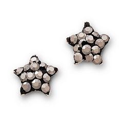 Sterling Silver Gray Star Earrings