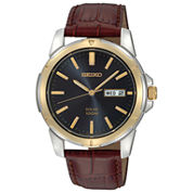 Seiko® Mens Brown Leather Strap Solar Watch SNE102