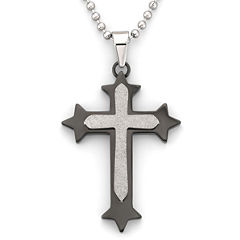 Mens Cross Pendant Necklace Stainless Steel