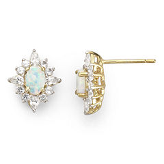 14K Gold-Plated Sterling Silver Lab-Created Opal & White Sapphire Earrings