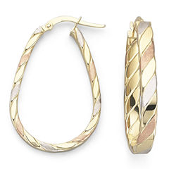Made in Italy Satin Tri-Tone 10K Gold Hoop Earrings