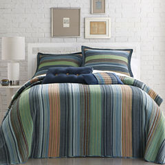 Blue Retro Chic Striped Bedspread & Accessories