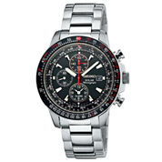 Seiko® Mens Multifunction Silver-Tone Solar Watch SSC007