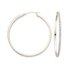 Diamond Fascination™ 18K Yellow Gold Over Sterling Silver Hoop Earrings