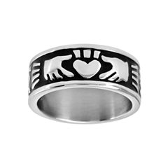 Mens 9mm Stainless Steel Claddagh Ring