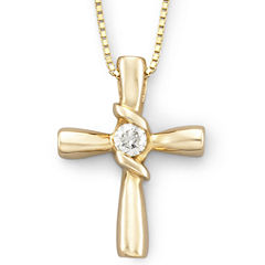 Sirena® 1/10 CT. T.W. Diamond Cross Pendant 14K Gold Necklace