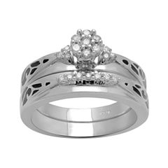 1/5 CT. T.W. Diamond Wedding Ring Set Sterling Silver
