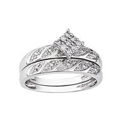 1/10 CT. T.W. Diamond Bridal Ring Set, Sterling Silver
