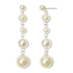 Vieste Silver-Tone Pearlized Glass Bead Multi-Drop Earrings
