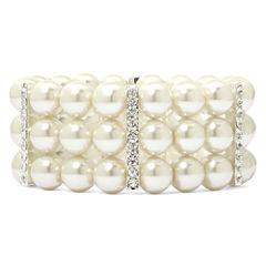 Vieste® Silver-Tone Pearlized Glass Bead 3-Row Stretch Bracelet