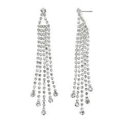 Vieste Silver-Tone Rhinestone 4-Row Chandelier Earrings