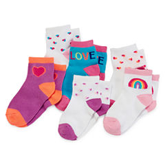 Okie Dokie® 6-pk. Lowcut Crew Socks - Baby Girls newborn-24m