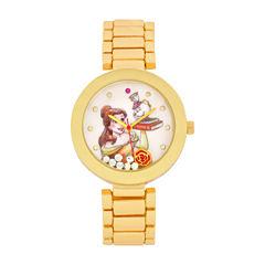 Disney Beauty and the Beast Womens Gold Tone Bracelet Watch-Pn2076jc