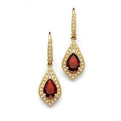 Red Garnet 14K Gold Over Silver Drop Earrings
