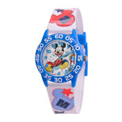 Disney Mickey Mouse Boys White Strap Watch-W001659