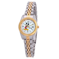 Disney Mickey Mouse Womens Two Tone Bracelet Watch-W001993