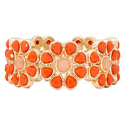 Liz Claiborne® Gold-Tone Orange Stone Flower Stretch Bracelet