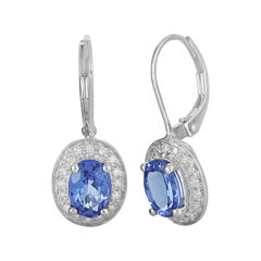 LIMITED QUANTITIES  Genuine Tanzanite and 1/5 CT. T.W. Diamond 14K White Gold Drop Earrings