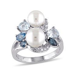 Cultured Freshwater Pearl, Genuine London and Sky Blue Topaz Ring