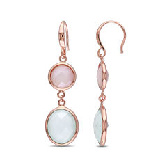 Genuine Green and Pink Chalcedony Rose Gold Over Silver Double-Drop Earrings