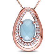 Genuine Chalcedony and White Topaz Rose Gold Over Silver Pendant Necklace