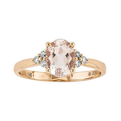 Oval Genuine Morganite and 1/10 CT. T.W. Diamond 14K Rose Gold Ring