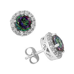 Genuine Mystic Fire Topaz and Lab-Created White Sapphire Halo Earrings