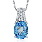 Genuine Blue Topaz and Lab-Created White Sapphire Pendant Necklace