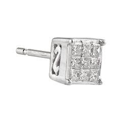 1/10 CT. T.W. Diamond 10K White Gold Single Stud Earring