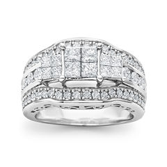 2 CT. T.W. Princess Diamond 3-Stone Engagement Ring