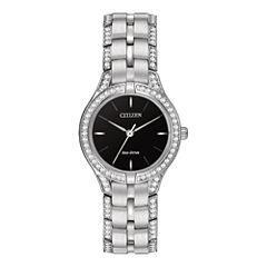 Citizen® Eco-Drive® Silhouette Womens Crystal-Accent Bracelet Watch FE2060-53E