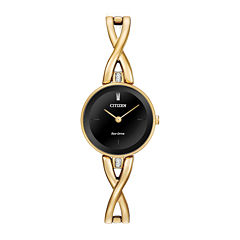 Citizen® Eco-Drive Silhouette Womens Crystal-Accent Gold-Tone Stainless Steel Bangle Watch EX1422-54E