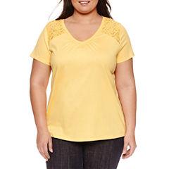 St. John's Bay® Short Sleeve Lace Inset V-Neck T-Shirt - Plus