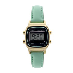 Womens Square Dial Green Strap Digital Watch
