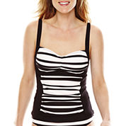 Liz Claiborne® Chelsea Stripe Over The Shoulder Tankini Swim Top