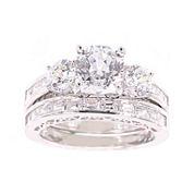 100 Facets by DiamonArt® Cubic Zirconia Bridal Ring Set