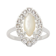 Sparkle Allure Womens Genuine Clear Silver Over Brass Cocktail Ring