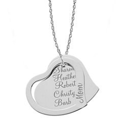 Personalized Sterling Silver Mom & Family Name Heart Pendant Necklace