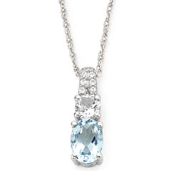 Simulated Aquamarine & White Sapphire Pendant Necklace