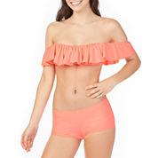 Arizona Off the Shoulder Flounce Swimsuit Top or Boyshort Bottom-Juniors