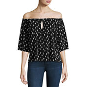 Trixxi 3/4 Sleeve Boat Neck Blouse-Juniors