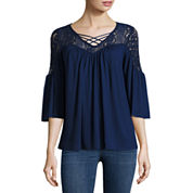 a.n.a 3/4 Sleeve Solid Peasant Top
