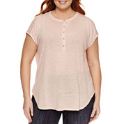 Liz Claiborne Sleeveless Henley Shirt Plus