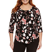 Liz Claiborne 3/4 Sleeve Crew Neck T-Shirt-Plus