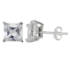 Silver Treasures Princess Clear Sterling Silver Stud Earrings