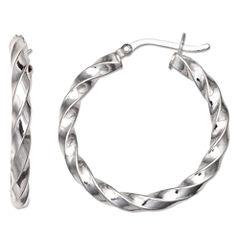 Silver Treasures Sterling Silver Hoop Earrings