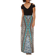 London Style Cold Shoulder Short Sleeve Maxi Dress
